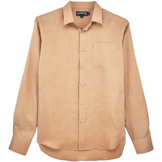 Men Others Solid - Men Linen Shirt Solid, Kraft front
