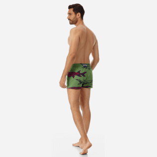 Men Short classic Printed - Men short and fitted stretch swimtrunks Belle ou Gars, Cactus backworn