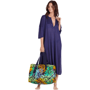 Women Others Solid - Women Linen Beach Cover-up Solid, Midnight blue supp2