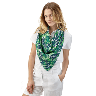 046 Printed - Madrague Scarf in Silk Twill, White frontworn