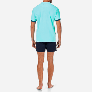 Men Others Solid - Solid Cotton pique polo, Lagoon backworn