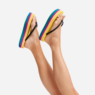 Women Others Solid - Women multicolor plateform flipflop - Vilebrequin x JCC+ - Limited Edition, Multicolor frontworn