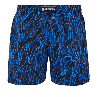 Men Stretch classic Printed - Men Swim Trunks Stretch Gershwin Vilebrequin x Hunt Slonem - USA Exclusive Print, Navy back