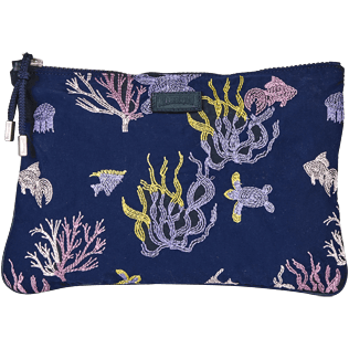 Others Embroidered - Zipped Beach Pouch Coral and Turtles, Navy front