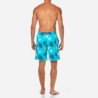 Men Long Printed - Tortues Multicolores Long Cut Swim shorts, Azure backworn