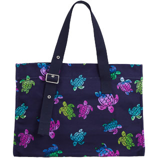 Others Printed - Unisex Beach bag Ronde des Tortues Aquarelle, Navy back