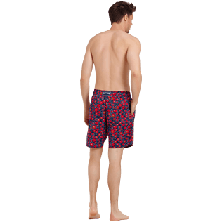 Men Long classic Printed - Men Swimwear Long Stretch Crackers, Navy backworn