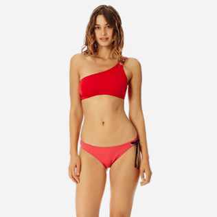 Women Classic brief Solid - Women asymmetrical brief bikini Bottom Neoprene, Hibiscus frontworn