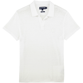 Men Polos Solid - Solid Linen jersey polo, White front