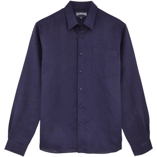 Men Shirts Solid - Men Linen Shirt Solid, Navy front