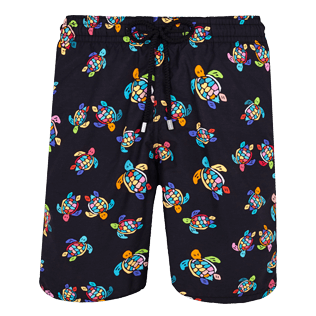 Men Long classic Printed - Men Swim Trunks Long Over the Rainbow Turtles, Black front