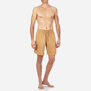 Men Others Solid - Men Cargo Linen Bermuda Shorts Solid, Hazelnut frontworn