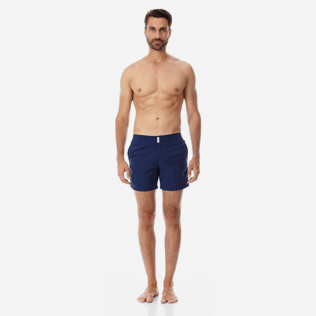 Men Flat belts Solid - Men Flat Belt Stretch Swim Trunks Solid, Navy supp3