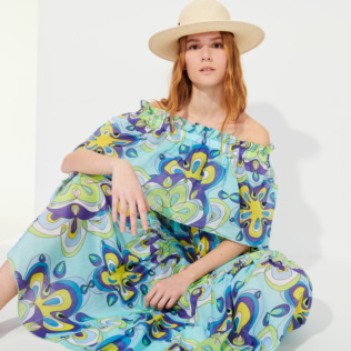 Women Others Printed - Women Cotton Off the Shoulder Long Dress Kaleidoscope, Lagoon supp3