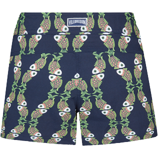 Donna Altri Stampato - Shorts da mare donna stretch Sweet Fishes, Blu marine back