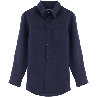 Boys Others Solid - Solid Linen Classic shirt, Navy front