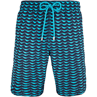 Men Long Printed - Poissons Hamac Long Cut Swim shorts, Azure front