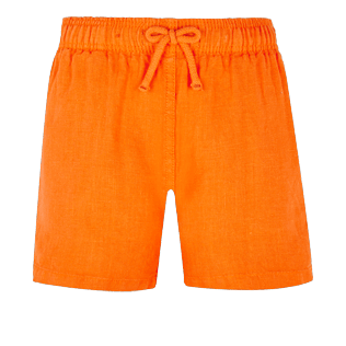 Boys Others Solid - Linen Boys Shorts Bermuda Solid, Safran front