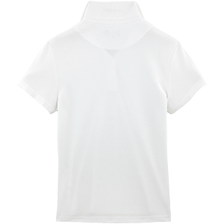 Women Polos Solid - Solid Cotton pique polo, White back