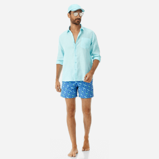 Men 017 Embroidered - Men Embroidered Swimwear St Barth - Limited Edition, Sea blue supp2