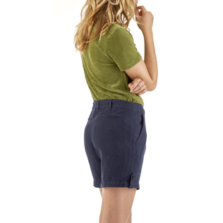 Women Others Solid - Solid Linen Bermuda shorts, Navy supp3