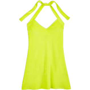 Women Dresses Solid - Women Short Halter Terry Cloth Dress Solid, Chartreuse front