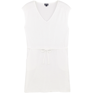 Women Others Solid - Women Short terry cloth Dress Solid, White front