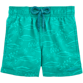 Boys Others Printed - Water-reactive Sardines à l'Huile Swim Shorts, Veronese green supp2