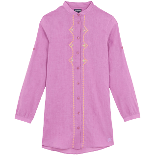 Women Others Embroidered - Women Linen Cotton Shirt Dress Embroidery Indian Ceramic, Pink berries front