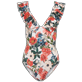 Women Long, Fitted Printed - Women One piece Swimsuit Tropical Blooms, White front