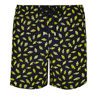 Men Embroidered Embroidered - Men Swimtrunks Embroidered Mini Fish - Limited Edition, Black front