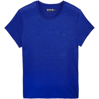 Men Others Solid - Men Linen Jersey T-shirt Solid, Neptune blue front