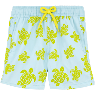 Boys Classic / Moorea Printed - Flocked Turtle Print Swim Shorts, Frosted blue front