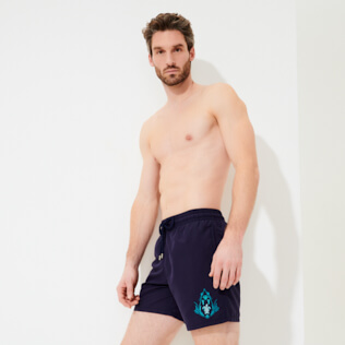 Men Classic Embroidered - Men Swimwear Pranayama Placed embroidery, Sapphire supp3