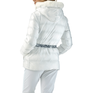 Women Vests AND Jackets Printed - Snow Tiger Reversible Down Jacket, White backworn