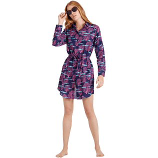 Women Others Printed - Women Cotton Voile Shirt Dress Coral & Fish, Navy supp2