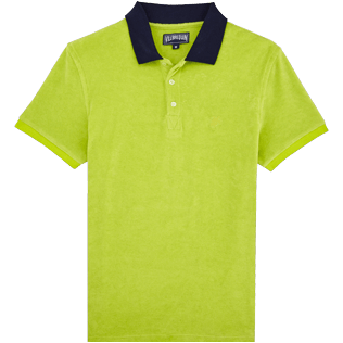 Men Others Solid - Men Terry Cloth Polo Shirt Solid Contrasted, Cactus front