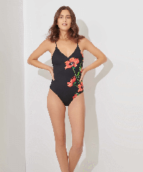 Women One piece Printed - Women One piece Swimsuit Red Poppy, Black frontworn
