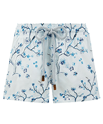 Women Others Embroidered - Women Swim Short Embroidered Cherry Blossom, Sea blue front