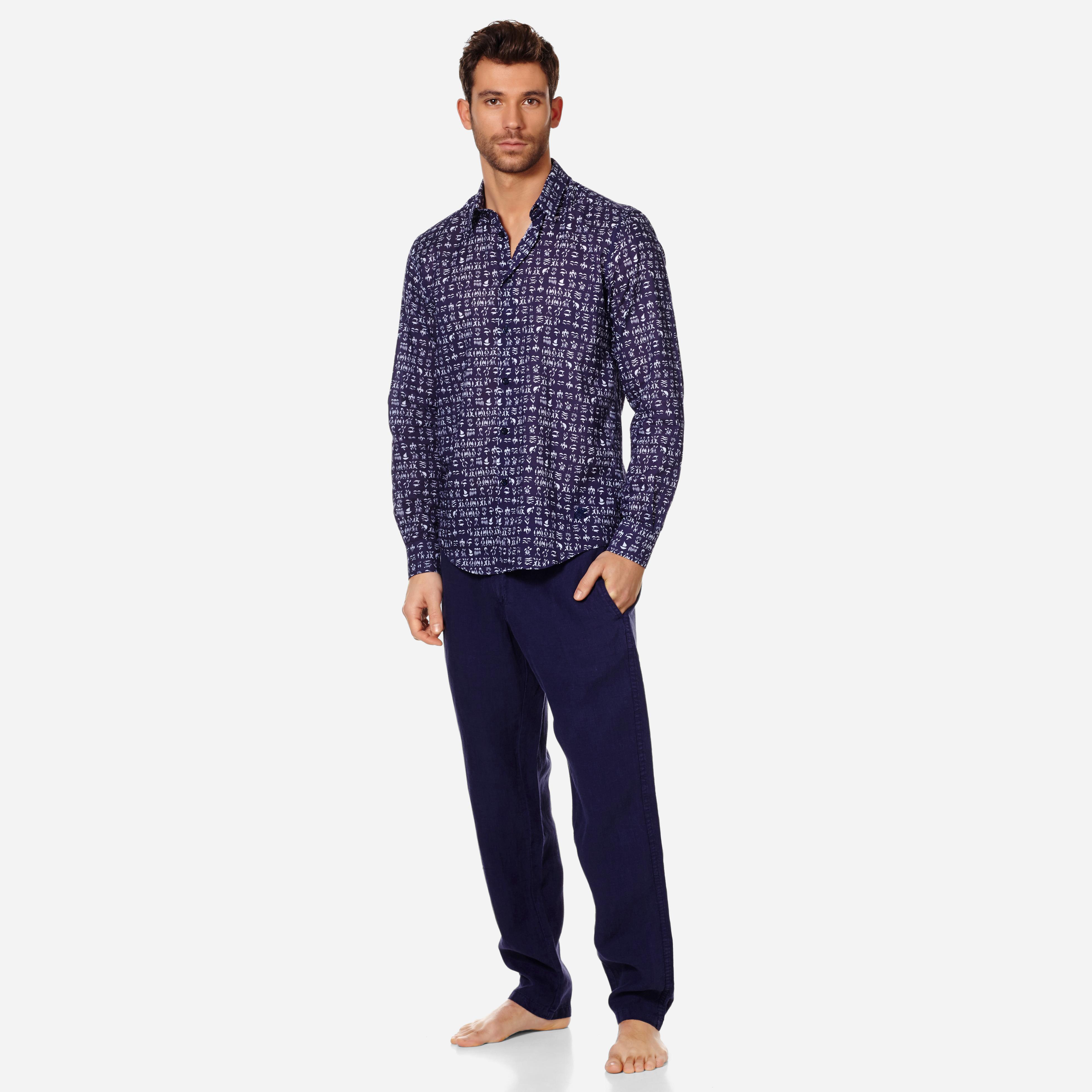 Vilebrequin Unisex Cotton Voile Shirt Fortune Teller Turtles In Blue