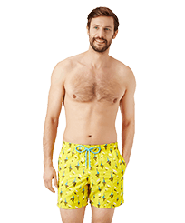 Men Classic Embroidered - Men Swimwear Embroidered Bateaux sur l'eau - Limited Edition, Buttercup yellow frontworn