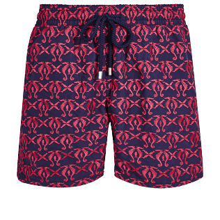 Men Classic Embroidered - Men Swim Trunks Embroidered Hippocampes - Limited Edition, Midnight blue front