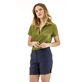 Women Others Solid - Solid Linen Bermuda shorts, Navy frontworn