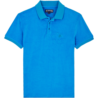 Men Others Solid - Men Terry Cloth Polo Shirt Solid, Hawaii blue front