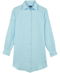 Women Others Solid - Women Linen Shirt Dress Solid, Sky blue front