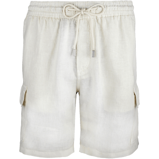 Men Shorts Solid - Solid Cargo linen bermuda shorts, Sand front