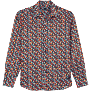 Others Printed - Unisex Cotton Voile Summer Shirt 1977 Spring Flowers, Navy front
