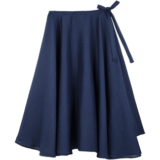 Women Others Solid - Women Long Linen Voile Pareo Skirt Solid, Navy back