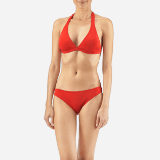 Women Tops Solid - Solid shaping swimwear Top, Poppy red supp1