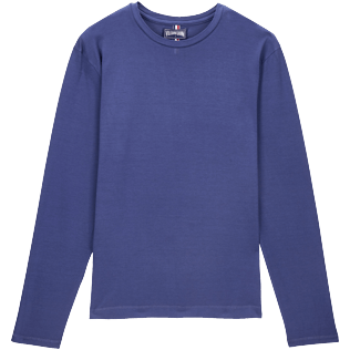 Men Others Solid - Men Coton Long sleeves t-shirt, Prussian blue front
